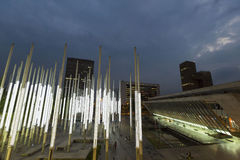 Modern architecture at the Park of Lights in Medellin at night Stock Image