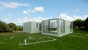 Modern architecture project in the countryside, Stock Photography