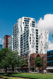 Modern architecture residential buildings. Rottedam, The Netherlands - August 6, 2016: Modern architecture buildings with colorful glass and metal facade Stock Photography