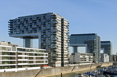 Modern architecture, rhine skyline, Cologne. Germany, state, land North Rhine-Westphalia; City Cologne: in the Rheinauhafen district [southern Altstadt] are Royalty Free Stock Photo