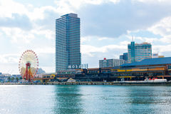 Modern architecture and sea in Kobe port Harborland. KOBE, JAPAN - December 22, 2015 : modern architecture and sea in Kobe port Harborland Stock Photos