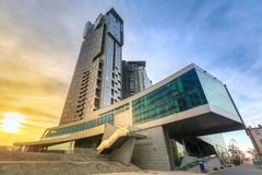 Modern architecture of Sea Towers skyscraper at sunset, Gdynia. GDYNIA, POLAND - APRIL 8, 2016: Modern architecture of Sea Towers skyscraper at sunset, Gdynia Stock Photos