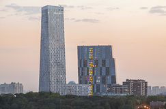 Modern architecture - skyscrapers at sunset Royalty Free Stock Photography