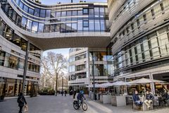 Modern architecture with shops, restaurants and offices in Dusseldorf Stock Photography
