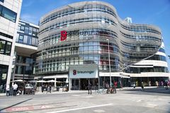 Shopping mall in modern buildings Dusseldorf royalty free stock photo