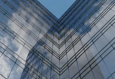 Modern architecture of steel and glass building facade 3d illustration. Modern architecture of steel and glass building facade 3d render Royalty Free Stock Photos