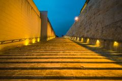 Modern architecture steps in Valletta,Malta at sunset.  Stock Photo