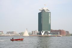 Modern architecture. Tall office building by the sea stock photos