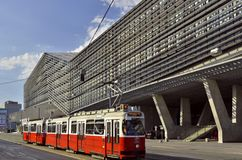 Modern architecture and tramcar Vienna Austria royalty free stock photography