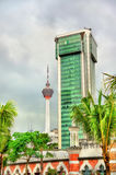 Modern architecture with the TV tower in Kuala Lumpur, Malaysia Stock Images