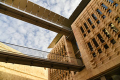 Modern architecture, Valetta parliament building walkway, Malta. Modern building structure of Valetta parliament building in Malta Stock Photography