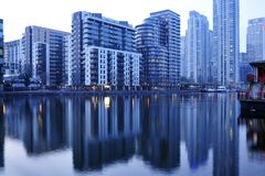 Modern architecture water reflection London UK stock images