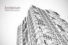 Modern architecture wireframe. Concept of urban wireframe. Wireframe building illustration of architecture CAD drawing. Modern architecture wireframe. Concept Stock Images