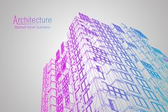 Modern architecture wireframe. Concept of urban wireframe. Wireframe building illustration of architecture CAD drawing. Modern architecture wireframe. Concept Royalty Free Stock Photo