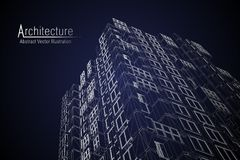 Modern architecture wireframe. Concept of urban wireframe. Wireframe building illustration of architecture CAD drawing. Modern architecture wireframe. Concept Royalty Free Stock Images