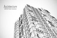 Modern architecture wireframe. Concept of urban wireframe. Wireframe building illustration of architecture CAD drawing. Modern architecture wireframe. Concept Royalty Free Stock Image