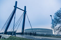 Modern architekture, Wroclaw stadium, cold tone concept.  Royalty Free Stock Photography