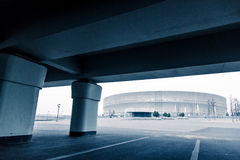 Modern architekture, Wroclaw stadium, cold tone concept.  Royalty Free Stock Photos