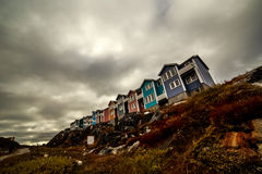 Modern arctic Inuit houses. Colorful houses in Greenlandic capital Nuuk city Stock Photo