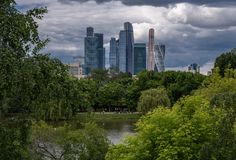 Modern area with skyscrapers. Moscow city royalty free stock photos