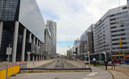 Modern area with tram lines in Rotterdam, Holland Stock Image