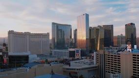 Modern Aria and Mandarin Hotel in Las Vegas - beautiful evening view - USA 2017. Modern Aria and Mandarin Hotel in Las Vegas - beautiful evening view stock video
