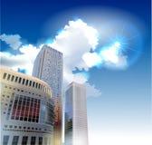Modern arkhitecture illustration Glass skyscrapers Stock Photos