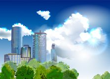 Modern ackhitecture illustration Glass skyscrapers Stock Photography