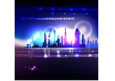 Modern arkhitecture illustration Neon effect  Glas Royalty Free Stock Image