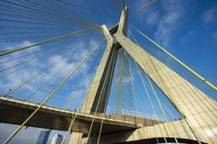 modern arkitektur bridges modernt Kabel-bliven bro i världen, Sao Paulo Brazil arkivfoto