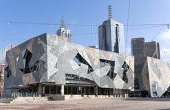 Modern arkitektur, byggnader, federationfyrkant, Melbourne Fotografering för Bildbyråer
