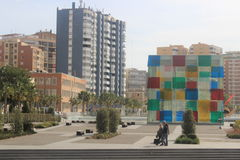 Modern arkitektur i Malaga Arkivfoto