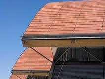 Modern arkitektur med tegelstenbågedetaljen Arkivbild