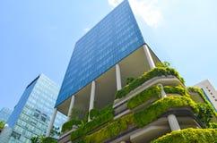 Modern arkitektur och vertikala trädgårdar av Singapore Royaltyfri Fotografi
