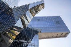 Modern arkitektur, Torre Mare Nostrum eller byggande Gas Natural Fenosa, av arkitekter Enric Miralles och Benedetta Tagliabue Bar Royaltyfri Foto