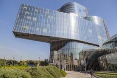 Modern arkitektur, Torre Mare Nostrum eller byggande Gas Natural Fenosa, av arkitekter Enric Miralles och Benedetta Tagliabue Bar Fotografering för Bildbyråer