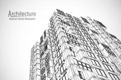 Modern arkitekturwireframe Begrepp av stads- wireframe Wireframe byggnadsillustration av teckningen för arkitektur CAD royaltyfri illustrationer