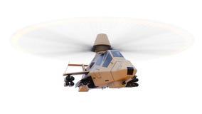 Modern arméhelikopter i flykten med ett fullt komplement av vapen på en vit bakgrund illustration 3d Royaltyfria Foton