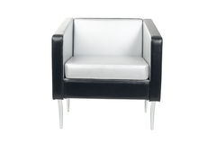 Modern armchair. Gray-black armchair in a modern style isolated on white royalty free stock images