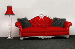 Modern armchair with furry cushions Royalty Free Stock Photos
