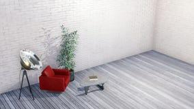 Modern minimalist loft or creative studio interior. Modern armchair, glass coffee table and floodlight floor lamp in minimalist loft or creative studio interior stock illustration