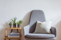 Interior design, modern living, armchair, succulents. Modern armchair with pillow in bright living room, decorated with books and succulents Stock Image