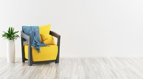 Modern armchair in a room with parquet, 3d render illustration. Grey sofa with pillows and parquet Stock Image