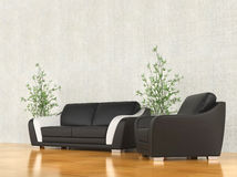 Modern armchair and sofa Royalty Free Stock Photography