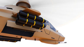 Modern army helicopter in flight with a full complement of weapons on a white background. 3d illustration. Stock Photo