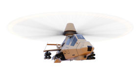 Modern army helicopter in flight with a full complement of weapons on a white background. 3d illustration. Royalty Free Stock Photos
