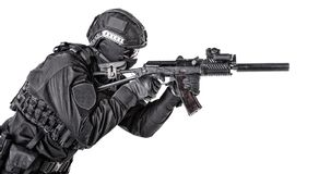 Modern army soldier, police SWAT member on white stock photography