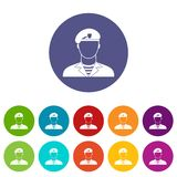 Modern army soldier set icons Royalty Free Stock Photo