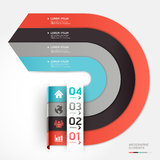 Modern arrow circle step up options banner. Vector illustration. can be used for workflow layout, diagram, number options, web design, infographics Stock Photo