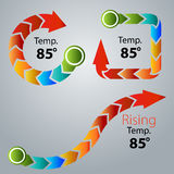 Modern Arrow Thermometer Icon Set Stock Photography